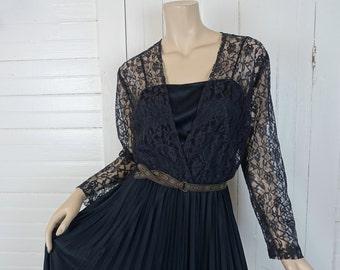 70s Black Disco Witch Dress- 1970s Lace & Pleats- Gypsy Goth- Medium- Boho Maxi- Stevie Nicks