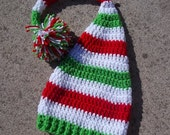 Shop Early and Save Long Tail Elf Hat with Large Pom - Newborn to Toddler - Lime Green, White, Cherry Red BRIGHTS Christmas- Great Photo Pro