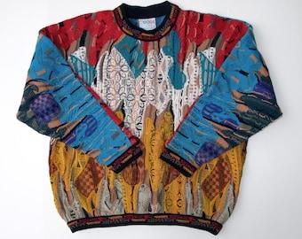COOGI Australia Sweater size L, Crew Neck Hip Hop Biggie, Coogi Textured Geometric Pullover