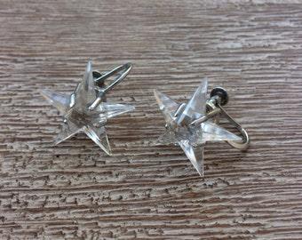 Vintage Star Earrings Glass Stars Made in Japan