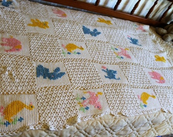 Vintage Hand Crocheted Baby Blanket with Animals, Afghan, Throw, Crib Size 36 X 48