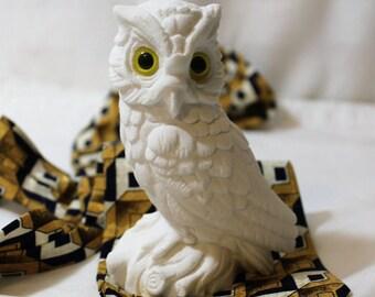 White Snowy Owl Sandstone Figurine
