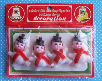 """4 Vintage Commodore Quick stick Dancing Figurine Package Tie on Decoration 2 3/8"""" tall"""