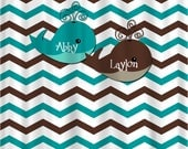 RESERVE J Lowery - Personalized Shower Curtain -Chevron Teal & Chocolate, with Whales, Shared Curtain