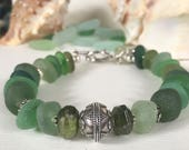 "Green Sea Glass Bracelet -Genuine Seaglass, Faceted Garnets & Bali Sterling Silver - 8"" length - INTO THE WOODS"