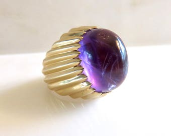 Circa 1970's Oval Cabochon Amethyst Ring In 14KT Yellow Gold Mounting