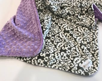 Cozy soft Minky Baby Blankets - Gray-White Damask Minky with Lilac Purple Minky - Choose Sizes - baby girl gift - Nursery Bedding