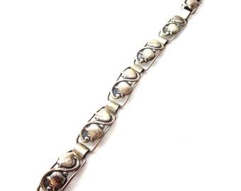 Modern Danish / Scandinavian 830S Silver 1940's Lily of the Valley Flower / Floral Vintage Rectangular Link Bracelet