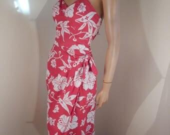 Vintage hawaiian sarong dress, paradise, bust 36, bright red