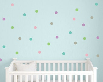 "2"" Polka Dot Wall Decal Set, Polka Dot Wall Stickers, Peel and Stick Wall Decals, Multi Colored Polka Dot Set, Choose Your Own Colors"