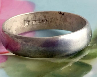 Vintage Men's Sterling Silver 925 Ring Band Simple Size 11