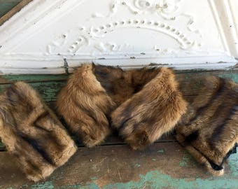 Vintage Stripe Brown Mink Fur Collar and Cuff Set