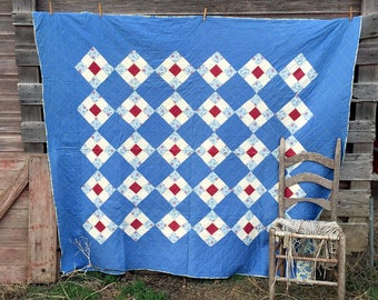 Vintage Feed Sack Quilt Blue With Red Squares Feed Sack Fabric Floral Backing