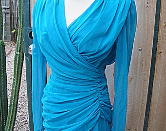 Turquoise Blue Ruched Chiffon Dress Vintage 1980s by Elissa Size 8