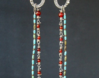 Long, Etruscan Inspired Fossil Ammonite, Turquoise and Carnelian Earrings