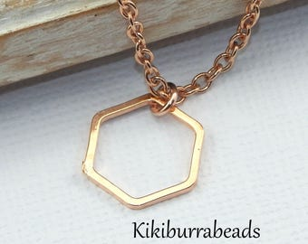 Rose Gold Hexagon Necklace,Geometric Necklace,Geometric Jewelry,Minimalist Necklace,Layering Jewelry