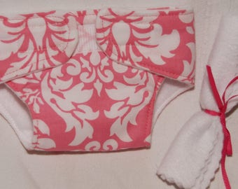 Large Pink Damask Doll Diaper and 2 Wipes- Ready to Ship Girl Doll Underwear Bitty Baby Diaper Baby Doll Diaper Pink and White