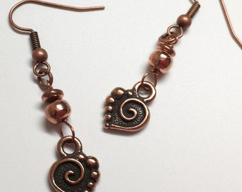 Copper Heart Earrings, Copper Dangle Earrings