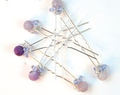 Violet semiprecious stone and clear purple crystal gold bobby pins. Hair accessory, bridesmaids. Set of 6. bp011