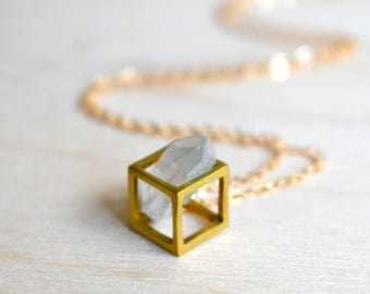 Gold Diamond Necklace, Gemstone Geometric Necklace, Bohemian, 14K Gold, Raw Crystal, Diamond Necklace, April Birthstone, Rustic Modern
