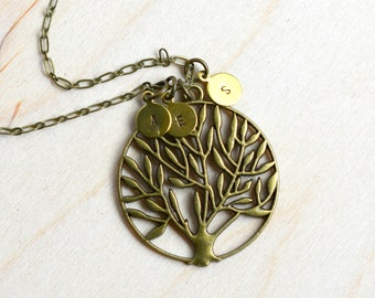 Mother's Day Gift, Family Tree Initial Necklace,  Initial Pendant, Rustic Tree Necklace, Tree Pendant, Personalized Jewelry, Family Pendant