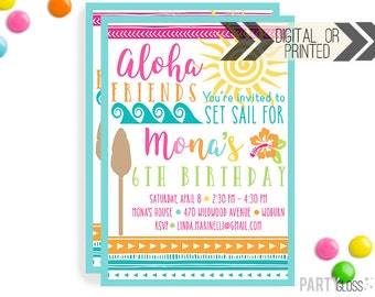 Hawaiian Party Invitation | Digital or Printed | Aloha Invitation | Hawaiian Party | Tropical Birthday Party | Hawaiian Invitations |
