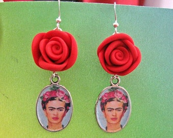Frida Kahlo Red roses earrings day of the dead dia de muertos ALTERED ART Mexico OOAK Viva La Frida