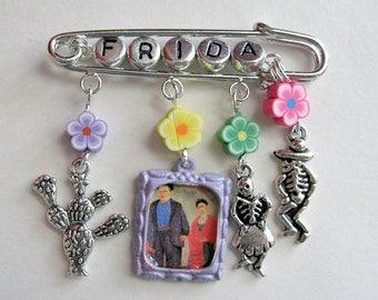 Frida Kahlo Diego Rivera Pin charms skull Catrina mexican folk altered art day of the dead hispanic dia de los muertos mexico brooch