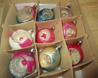 Old Poland Indented Mercury Glass Ornaments