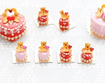 "Miniature Pastry ""Teddies"" in Red or Pink - Cute Individual Pastry for Valentine's - 12th scale miniature food"