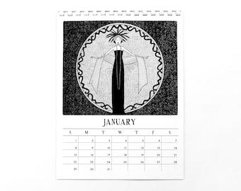 2017 Calendar // 1920s style flapper doodle art deco calendar