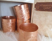 set of 4 Vintage 70s Coppercraft Guild Floral Copper Napkin Rings  ~ New in Box Mid Century Modern