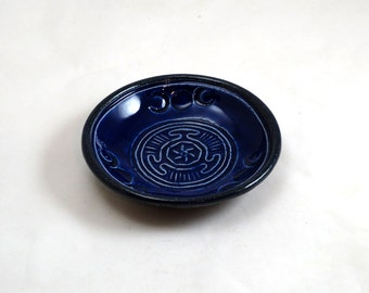 Hecate  Hekate's Wheel Triple Moon Offering Bowl Handmade Ceramic Pottery royal blue