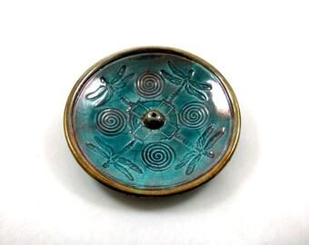 INCENSE BURNER Dragonfly Frog Celtic Handmade Ceramic Pottery  Purple