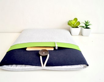 """MacBook Air Case, MacBook Pro Case, 11.6"""", 13.3"""", 15.4"""" MacBook Sleeve Case, Custom Size Padded with Pocket - Green and Navy"""
