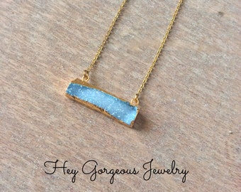 Natural blue druzy bar necklace-layering necklace-bar necklace-druzy necklace-valentines gift