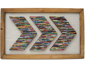 Chevron recycled Magazine wall art- made from recycled magazines & rustic wood frame, modern sculpture,bright colors, recycled, wall art