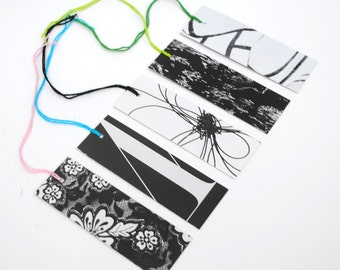 black & white GIFT TAGS set of 10- made from recycled magazines, colorful, unique, one-of-a-kind, pattern, silhouette, contrast, bold,strong