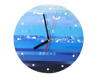 ombre wall clock - made from recycled magazines, round, circle, colorful, unique, kitchen clock, you choose your own color, blue,ocean