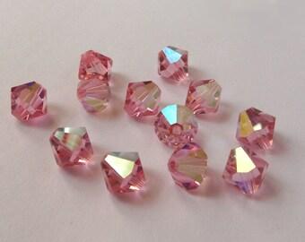 3mm Light Rose AB Swarovski Bicone Beads - (56)