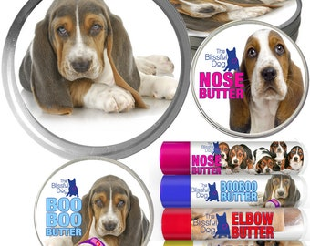 BASSET HOUND Big Sniff Combo: All Natural Balms For Dry Dog Noses, Rough Paws, Elbow Calluses and Itchy Skin Discomforts in Big Gift Tin