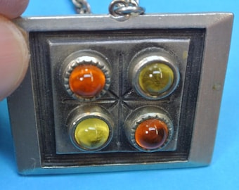 Signed vintage 1960s swedish handcrafted signed rectangular pewter pendant necklace with 4 yellow/ orange round glass centerpieces