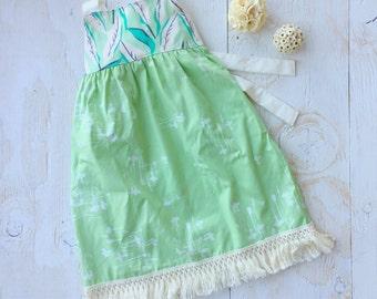 Girl's Dress - Tropical Girl's Dress- Palm Leaves - Fringe dress - Childrens Clothing - made in Maui, Hawaii USA