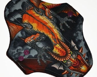 Liner Core- Mother of Dragons Reusable Cloth Pantyliner Pad- WindPro Fleece- 8.5 Inches