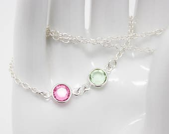 Mother's Jewelry, Crystal Birthstone Morher's Necklace Sterling Silver, Choose your Birthstone Colors