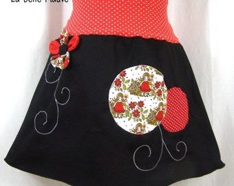 Skirt Chihiro red with polka dots, white and black