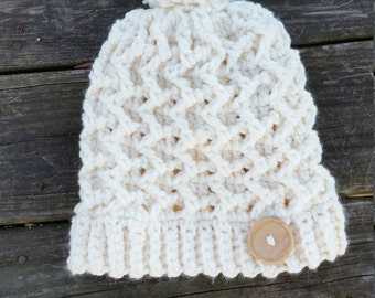Large Womens chunky Mountain Trails Hat, beanie mini slouch Ready to Send