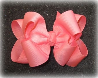 Girls hair bows, Double layer bow, Girls Hairbows, Shell Pink Bow, Large hairbows, big bow, 4 5 inch hairbows, stacked bow, Pink Bows, Coral
