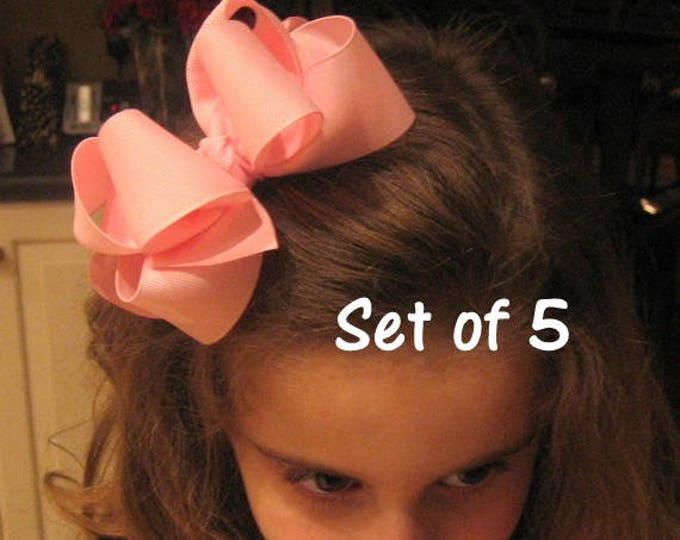 Girls hair Bows, Large Bows, Double Layer Hairbow, Lot Set of 5 Hairbows, Boutique Hair Bows, Bow Sets, Bulk of Hairbows, Baby Headband, dcp