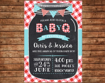 Mason Jar Red Gingham Check Turquoise Baby Q BBQ BabyQ Baby Shower Lunch Picnic Dinner Birthday Invitation - DIGITAL FILE
